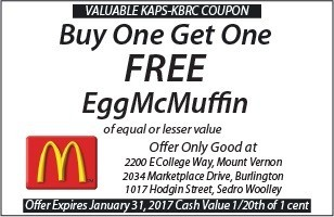 McDonalds Buy One Get One Free Egg McMuffin