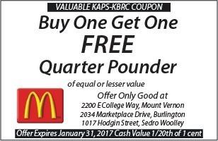 McDonalds Buy One Get One Free Quarter Pounder